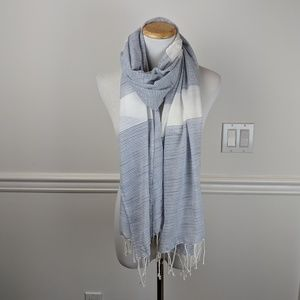 J. Crew Factory Blue and White Striped Scarf